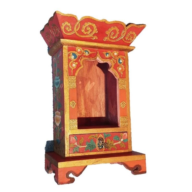 temple domestique bouddhiste tibétain en bois peint à la main