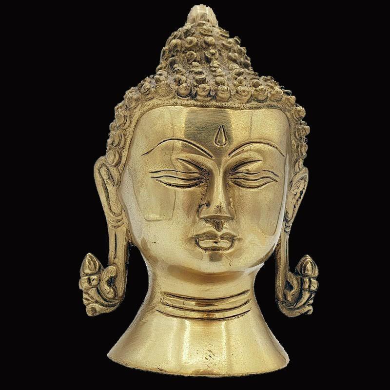 Tête de bouddha en fonte de laiton