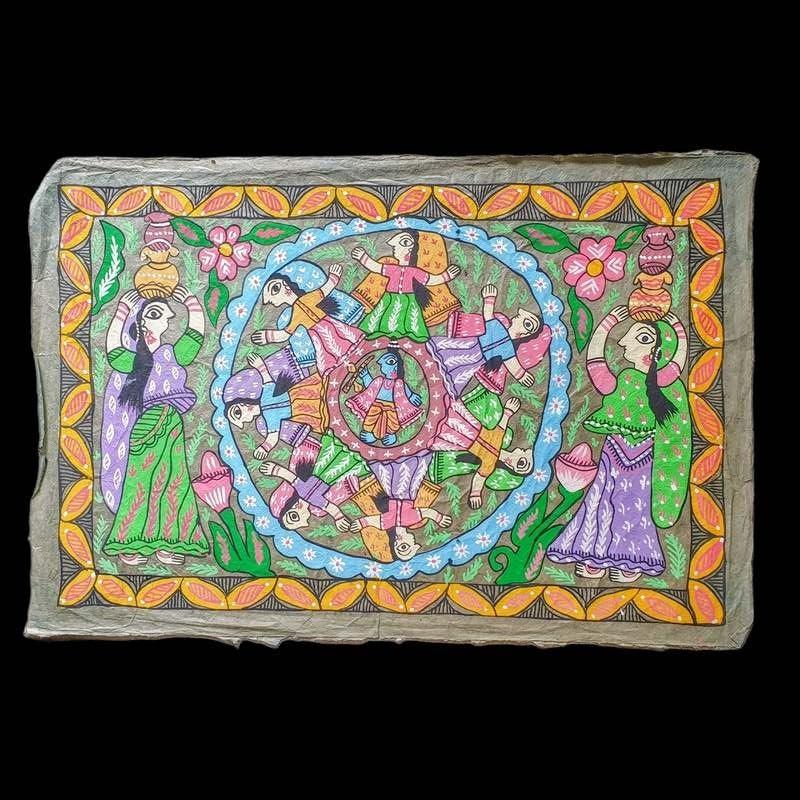"""Peinture mithila """"khana""""du Népal"""