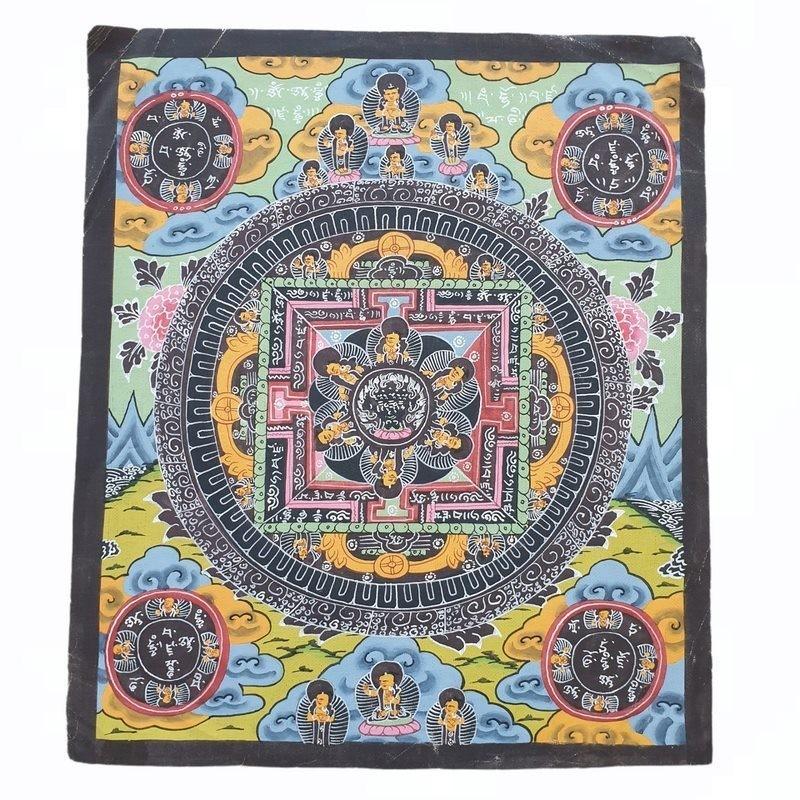 Thangka tibétaine quand la vie du bouddha