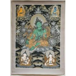 Thangka tibétaine Green Tara