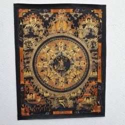 "Thangka tibétaine ""La vie du Bouddha"""
