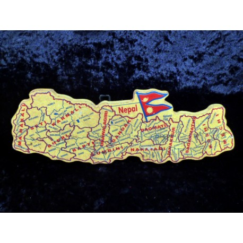 Carte du Népal en bois