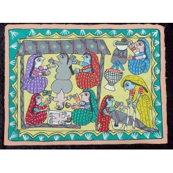 "Peinture mithila ""Bud'dhakī āmā""du Népal"
