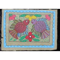 """Peinture mithila """"dui maccha"""" du Népal"""