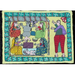 "Peinture mithila ""Janma"" du Népal"
