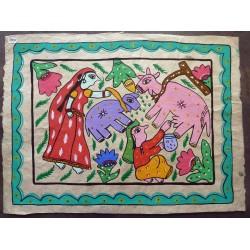 """Peinture mithila """"Haati"""" du Népal"""
