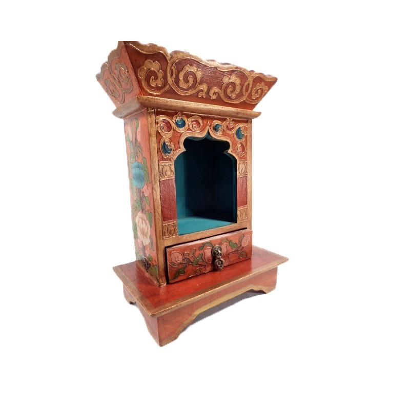 petit autel tibétain en bois peint à la main
